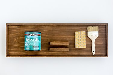 Wood tray with paintbrush sanding block, clear polycrylic sealer