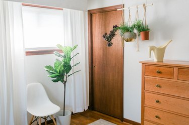 White-walled room with wood door, dresser, plants, and white curtains