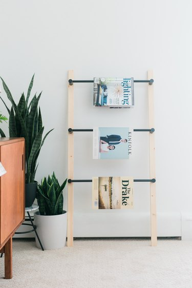 Wood and metal ladder with magazines next to potted plant and wood sideboard