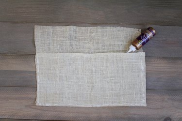 Burlap sheet with applied fabric glue
