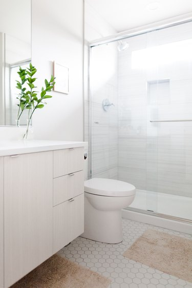 white hexagon tile, glass shower door, gray shower wall, wood vanity, green plant on top of the vanity, bath rugs in a rust color are on the floor