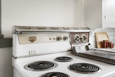 A retro kitchen stovetop