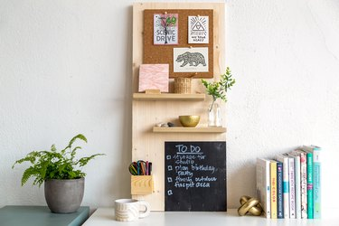 Memo board with a cork board, wood shelves, chalkboard, and pencil holder