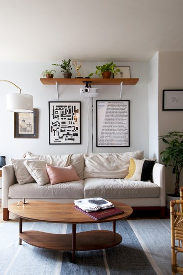 Couch and coffee table in bohemian living room