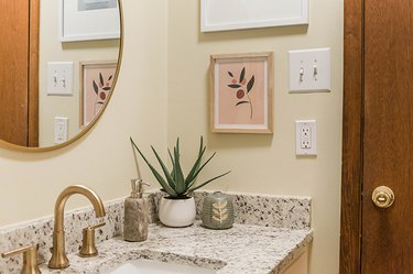Wall socket in a bathroom with neutral color theme and decor