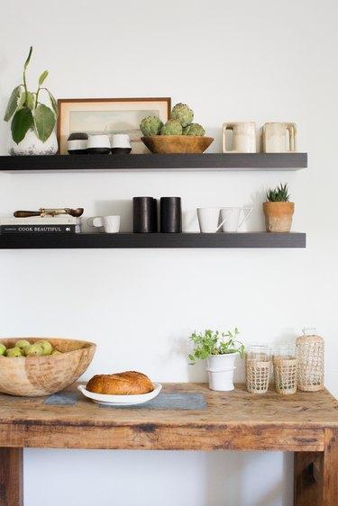 white bohemian kitchen with open shelves