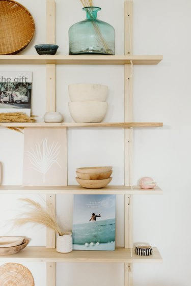 Shelf unit with boho beach decor