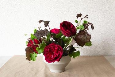 geranium, nine bark stems, and roses in a white vase