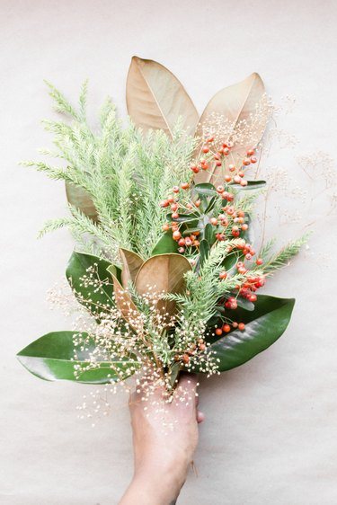 Bouquet of winter foliage and berries