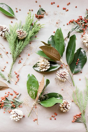 Live plants and berries for winter centerpiece