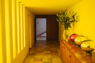 Yellow Room Ideas in Yellow hallway of a Mid-Century building, wood sideboard with plant and globes