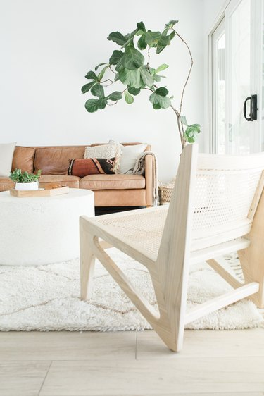 White boho living room with leather couch and fiddle leaf fig tree