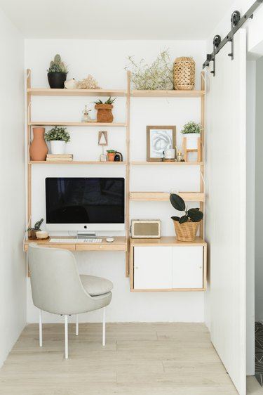 Open shelving office corner with barn sliding door with Home Office Desk Ideas