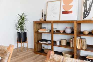Wooden bookshelf with books and other decorative trinkets next to a plant in a black pot.