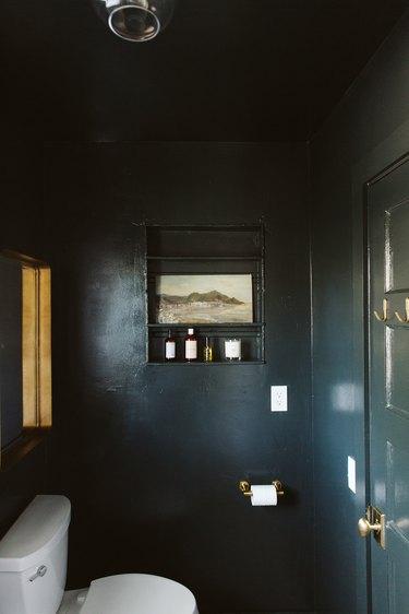 black wall in a bathroom