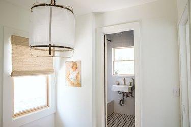 pendant light in hallway for farmhouse bathroom decor