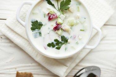 """Russian traditional Okroshka, summer soup"""