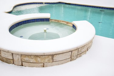 Outdoor hot tub or spa in the winter