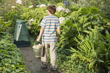 Rear view of boy in garden with compost bin