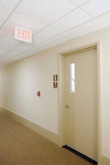 Door with exit sign