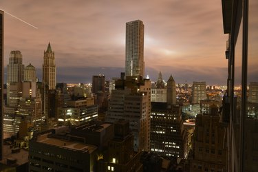 Sunset over a dark Manhattan post Hurricane Sandy