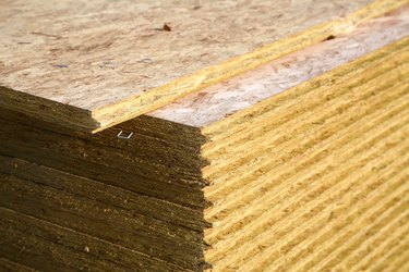 Stack of sheets of particleboard