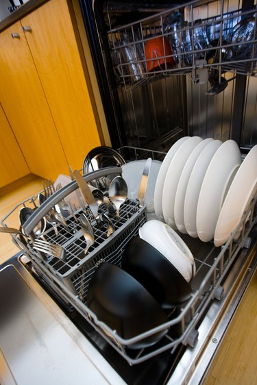 Dishwasher filled with plates