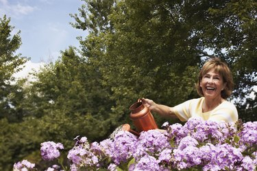 Smiling woman watering flowers