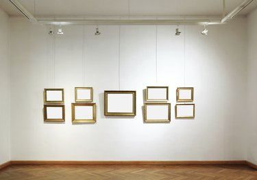Art gallery with empty frames