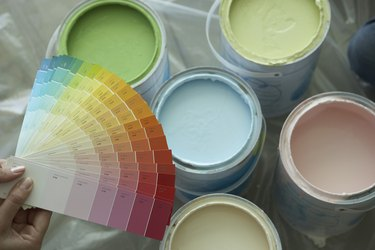 Paint swatches and paint cans