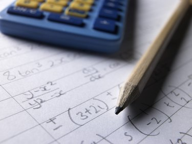 Pencil calculator and math homework