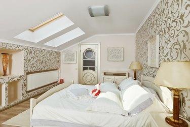 Modern art deco style bedroom interior on loft room
