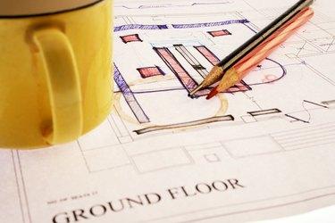 Close up shot of a house plan