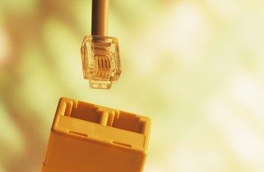 Phone plug and sockets, close-up