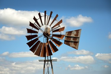 Windmill with clouds