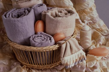 bathroom towels basket soap