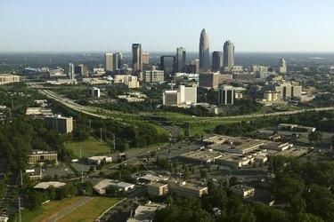 Aerial view of skyline, Charlotte, North Carolina