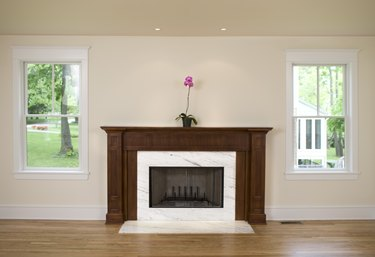 Orchid on fireplace in empty room