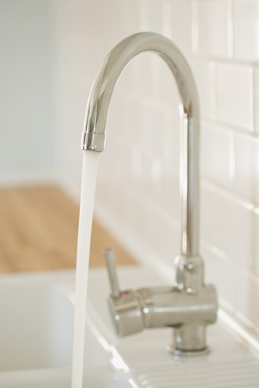 Faucet with water flowing