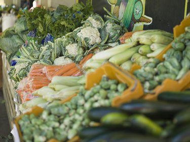 Vegetables arranged at produce stand