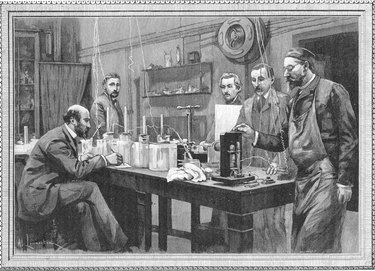 Scientists in physics lab in Sarbonne, Paris