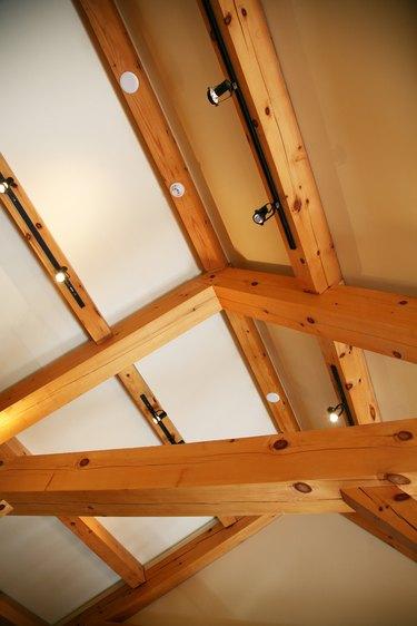 Indoor roof of home under construction