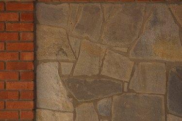 Stone wall with brick border
