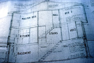 Detail of blueprint of house