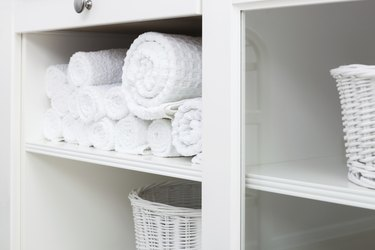 towel on a shelf