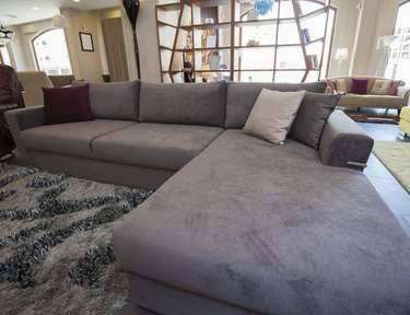 L-shaped corner sofa in show room