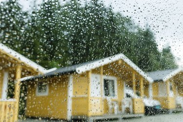 Camping cabins in heavy rain