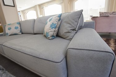 Closeup of cushions on sofa