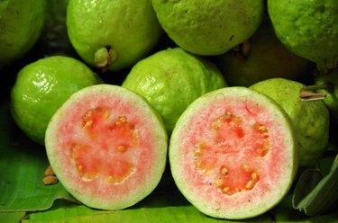 close-up guava fruit background