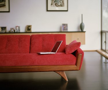 Laptop on sofa
